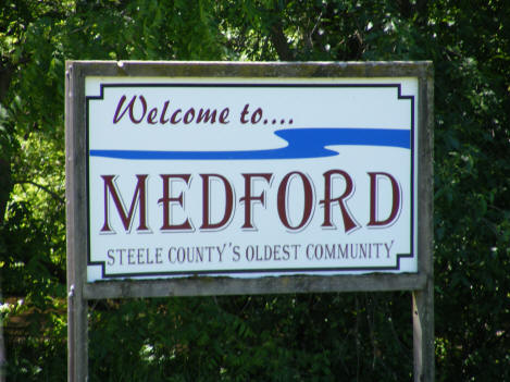 Welcome sign, Medford Minnesota, 2010