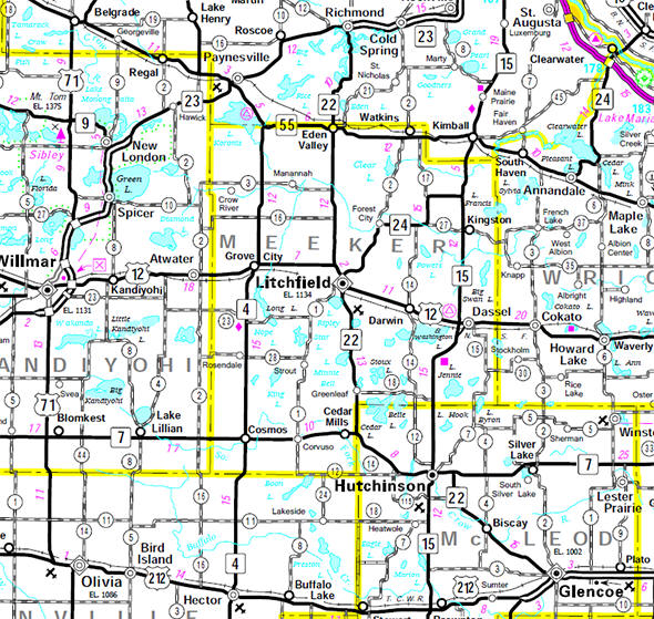 Minnesota State Highway Map of the Meeker County Minnesota area