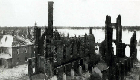 Skeletal ruins of St. John the Baptist Church which burned on Feb. 13, 1923 at Meire Grove, Minnesota