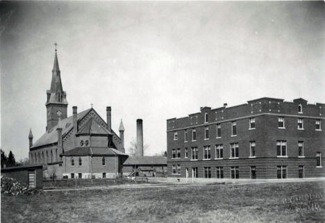 Church of St. John the Baptist and parochial School in Meire Grove, MN, 1917