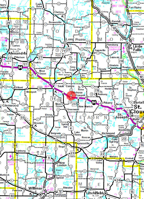 Minnesota State Highway Map of the Melrose Minnesota area