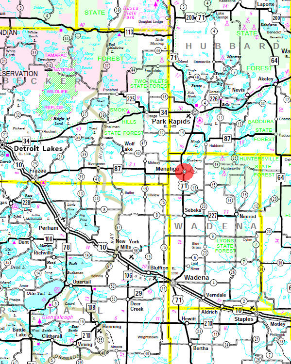 Minnesota State Highway Map of the Menahga Minnesota area