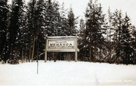 Welcome sign, Menahga Minnesota, 1939