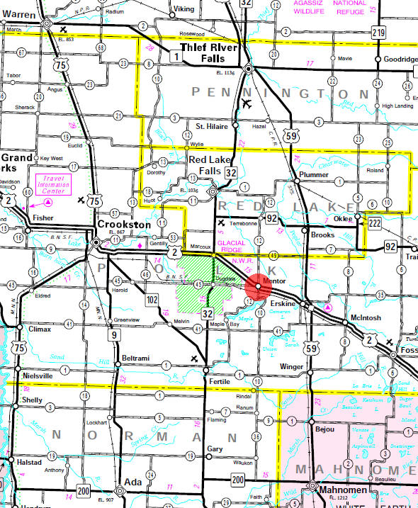 Minnesota State Highway Map of the Mentor Minnesota area