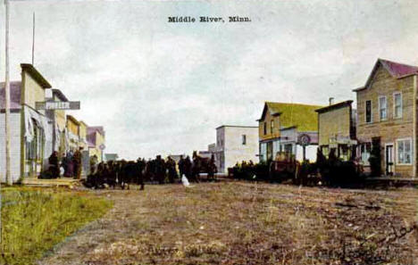 Street scene, Middle River Minnesota, 1910