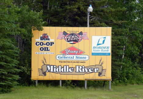 Welcome sign, Middle River Minnesota, 2009