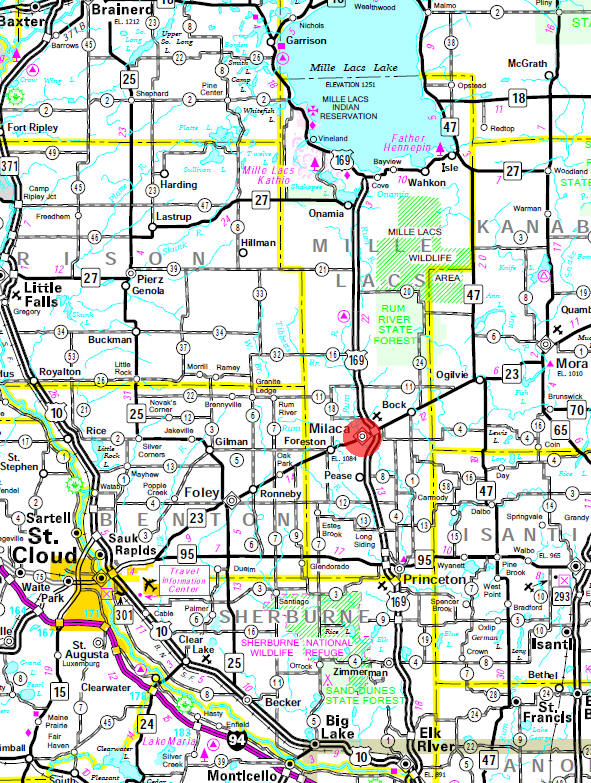 Minnesota State Highway Map of the Milaca Minnesota area