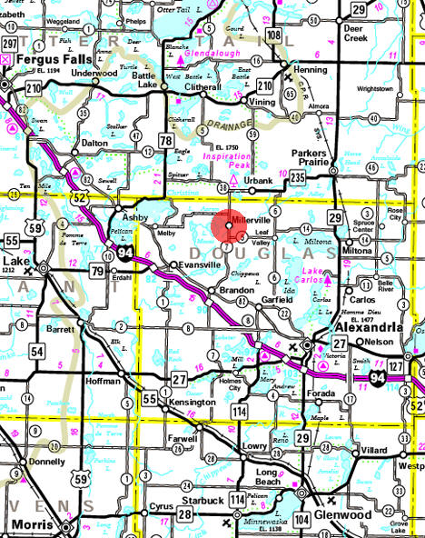 Minnesota State Highway Map of the Millerville Minnesota area