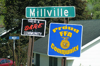 Millville Minnesota highway sign