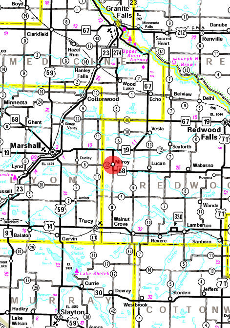 Minnesota State Highway Map of the Milroy Minnesota area