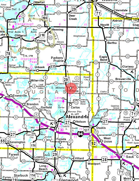 Minnesota State Highway Map of the Miltona Minnesota area