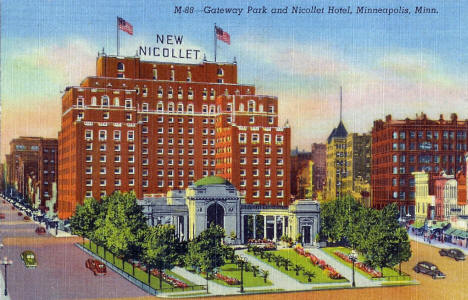 Gateway Park and Nicollet Hotel, Minneapolis Minnesota, 1940's