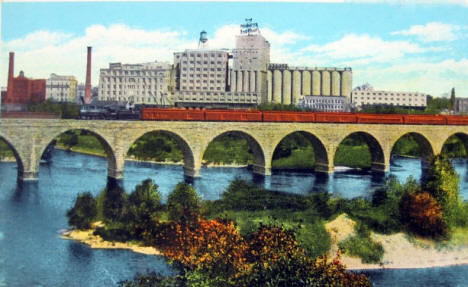 "Stone Arch Bridge and Pillsbury ""A"" Mill, Minneapolis Minnesota, 1926"
