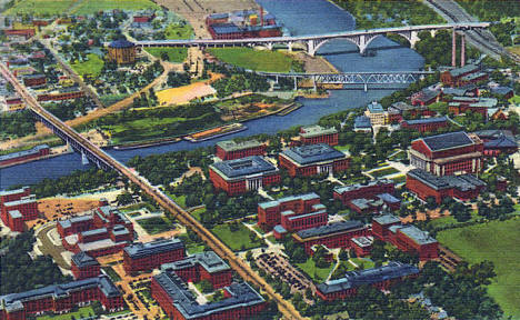 Aerial view, University of Minnesota campus, Minneapolis Minnesota, 1942