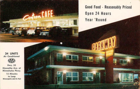 Parkway Motel and Canteen Cafe, Minneapolis Minnesota, 1950's