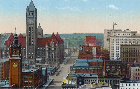 hird Avenue looking west from New Bridge, Minneapolis Minnesota, 1918
