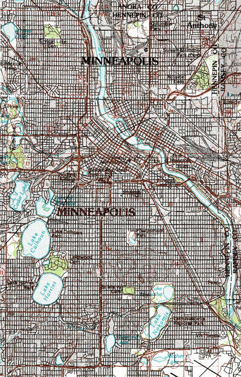 Topographic map of the Minneapolis Minnesota area