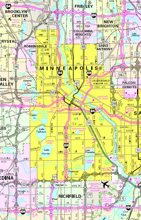 Minnesota State Highway Map of the Minneapolis Minnesota area