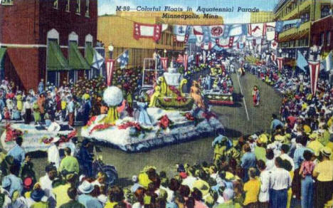 Aquatennial Parade on Nicollet Avenue in Downtown Minneapolis Minnesota, 1954