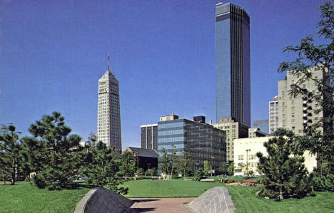 Minneapolis Skyline showing IDS Center and Foshay Tower, 1970's