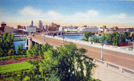 3rd Avenue Bridge and Downtown Minneapolis Minnesota, 1935