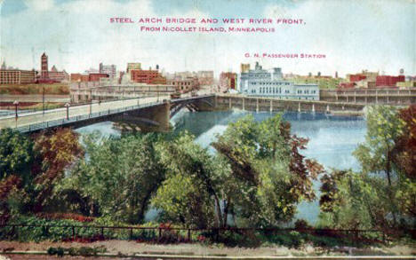 Steel Arch Bridge and West River Front from Nicollet Island, 1910's?
