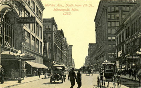 Nicollet Avenue looking south from 4th Street, Minneapolis Minnesota, 1910