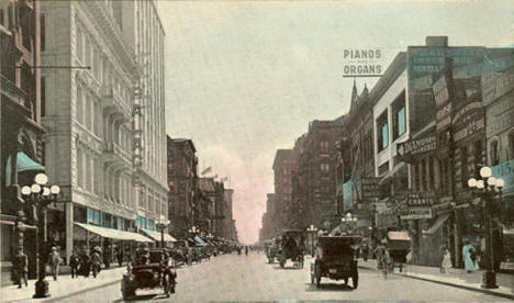 Nicollet Avenue looking south from 3th Street, Minneapolis Minnesota, 1908