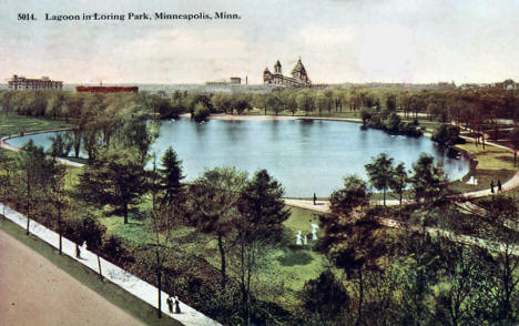 Lagoon in Loring Park, Minneapolis Minnesota, 1913