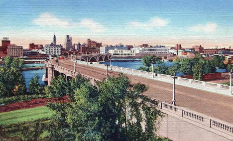 Third Avenue Bridge and View of Downtown Minneapolis, 1945