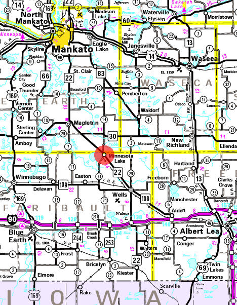 Minnesota State Highway Map of the Minnesota Lake Minnesota area