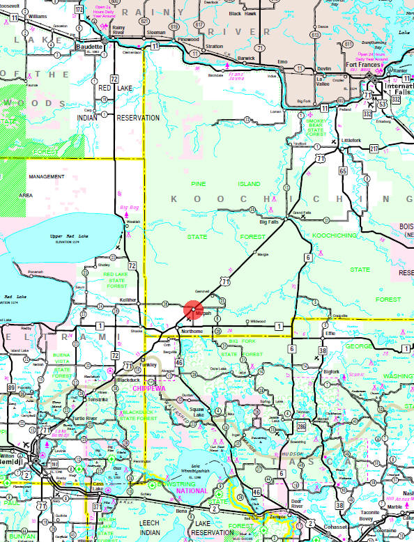Minnesota State Highway Map of the Mizpah Minnesota area