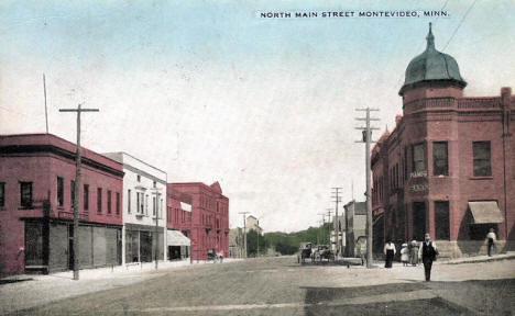 North side of Main Street, Montevideo Minnesota, 1908