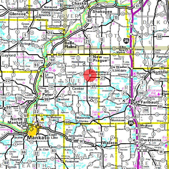 Minnesota State Highway Map of the Montgomery Minnesota area