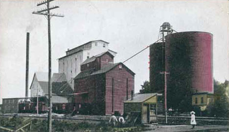 Flour mill and wheat tanks, Montgomery Minnesota, 1907