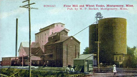 Commander Milling Company flour mill and wheat tanks, Montgomery Minnesota, 1910