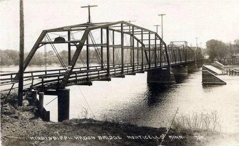 Mississippi wagon bridge, Monticello Minnesota, 1917