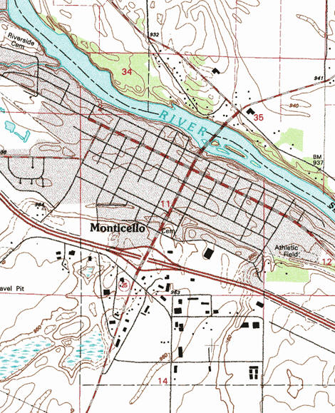 Topographic map of the Monticello Minnesota area
