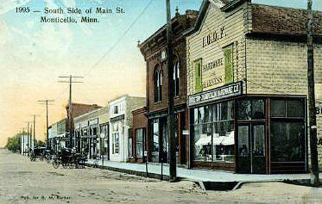 South Side of Main Street, Monticello Minnesota, 1913