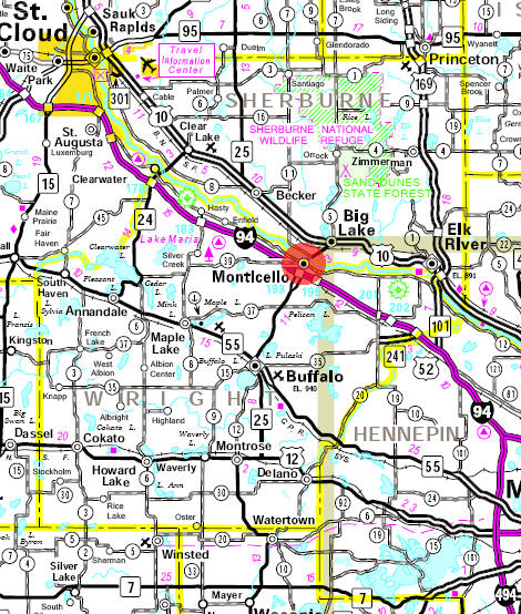 Minnesota State Highway Map of the Monticello Minnesota area
