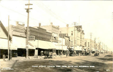 Front Street looking east from Fifth, Moorhead Minnesota, 1910