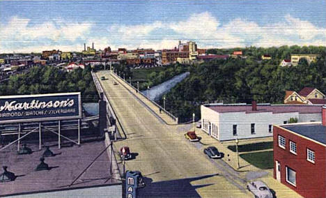 Looking west toward Fargo from atop Frederic Martin Hotel, Moorhead, 1955