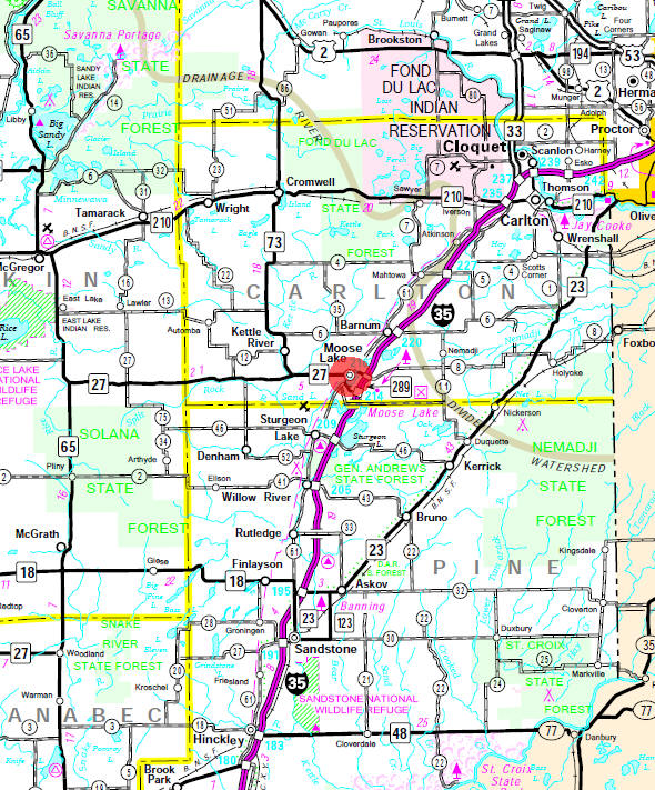 Minnesota State Highway Map of the Moose Lake Minnesota area