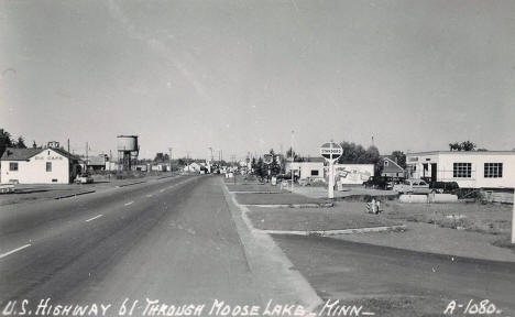 Highway 61 through Moose Lake Minnesota, 1950's