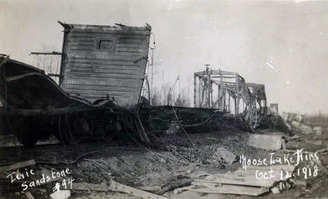 Burned train, Moose Lake Minnesota, 1918