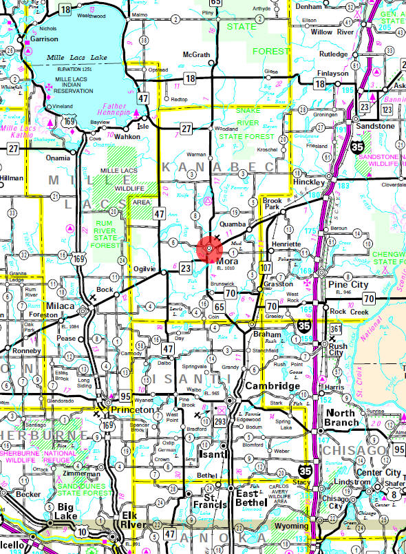 Minnesota State Highway Map of the Mora Minnesota area