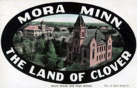 Court House and High School in the Land of Clover, Mora Minnesota, 1918