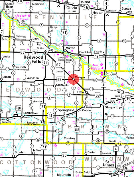 Minnesota State Highway Map of the Morgan Minnesota area