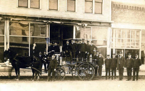Morris Fire Department posing in front of the Glass Block on Atlantic Avenue, 1909