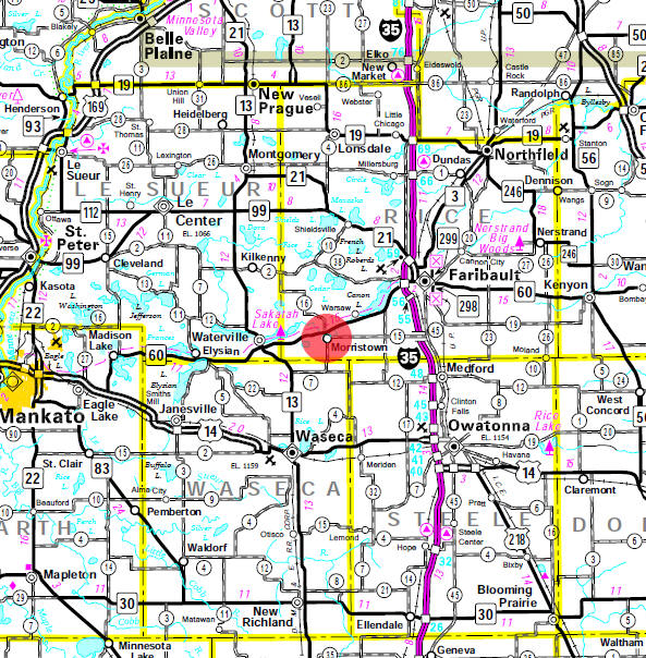 Minnesota State Highway Map of the Morristown Minnesota area